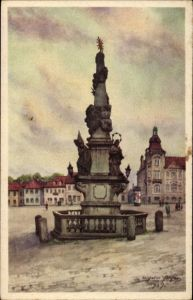 Künstler Ak Šluknov Schluckenau Region Aussig, Markt Dreifaltigkeit
