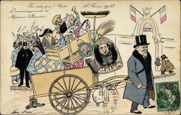 Künstler Ak Sager, Xavier, 18. Février 1913, Monsieur Poincaré, En route pour l'Elysée