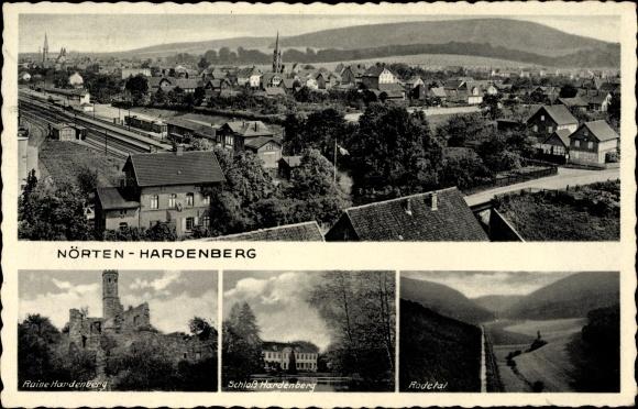 Ak Nörten in Niedersachsen, Bahnhof, Ruine Hardenberg, Schloss, Rodetal
