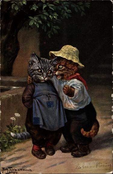 Künstler Ak Thiele, Arthur, M. Wunsch, Hauskatzen vermenschlicht
