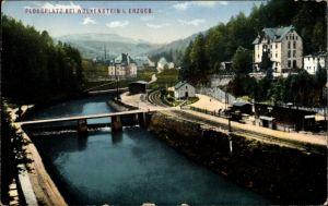 Ak Wolkenstein im Erzgebirge, Flossplatz, Bahnstrecke, Schleuse