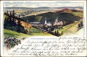 Künstler Ak Falk, G., Schwarzenberg im Erzgebirge Sachsen, Kirche, Rockelmann, König Albert Turm