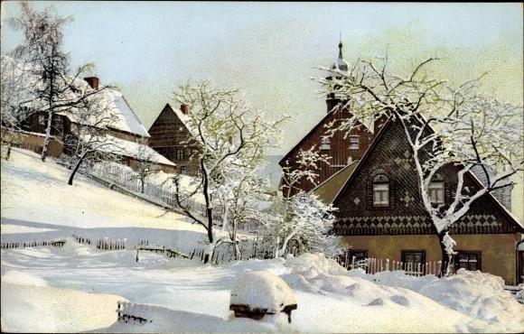 Ak Altenberg im Osterzgebirge, Dorfansicht im Winter, Nenke und Ostermaier Serie V Nr 141