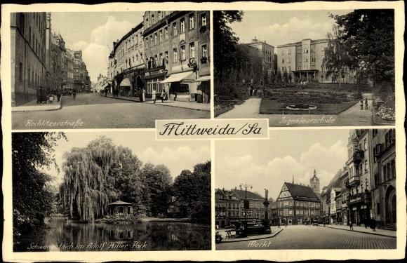 Ak Mittweida in Sachsen, Rochlitzer Straße, Ingenieurschule, Schwanenteich, Markt