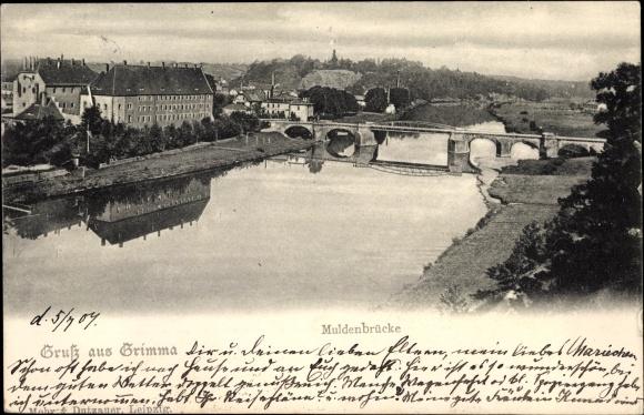 Ak Grimma in Sachsen, Wasserpartie mit Blick auf die Muldenbrücke