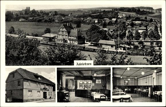 Ak Adelebsen in Niedersachsen, Gasthaus zur Post, Inh. Fritz Hennecke, Bahnhof, Güterwagons
