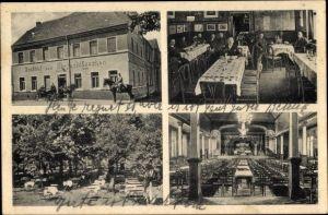 Ak Zwenkau in Sachsen, Gasthof zum Bergschlösschen, Inh. Reinhold Senf, Garten, Saal, Gäste