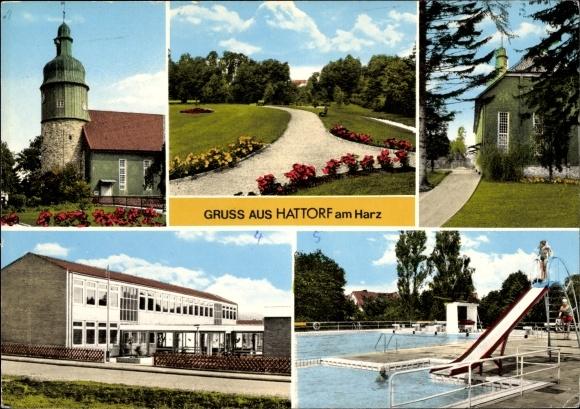 Ak Hattorf am Harz, Kirche, Parkanlagen, Schwimmbad, Straßenpartie