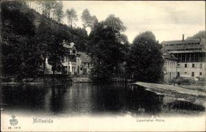 Ak Mittweida in Sachsen, Flusspartie, Lauenhainer Mühle