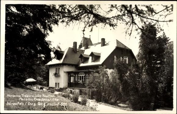 Foto Ak Bärenfels Altenberg im Erzgebirge, Marianne Träger und Luise Reuther Pension Friedenshöhe