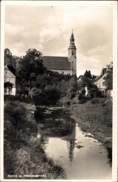 Ak Niederoderwitz Oderwitz im Landkreis Görlitz, Blick auf die Kirche
