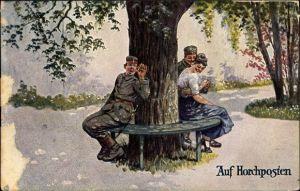 Künstler Ak Thiele, Arthur?, Auf Horchposten, Soldat mit Frau, Liebespaar im Schatten, Zuhörer