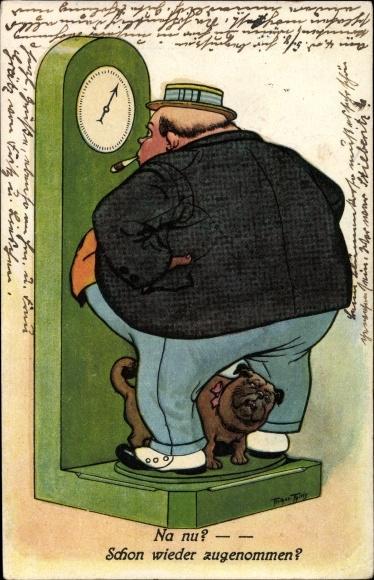 Künstler Ak Thiele, Arthur, Dicker Mann und Hund auf der Waage, schon wieder zugenommen, Mops