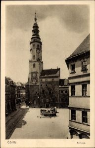 Ak Görlitz Oberlausitz, Rathaus am Marktplatz, Brunnen