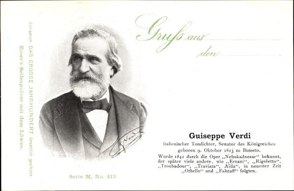 Ak Guiseppe Verdi, Italienischer Komponist, Senator des Königreiches, Portrait