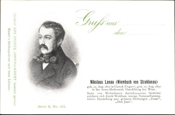 Ak Nikolaus Lenau, Niembsch von Strehlenau, Dichter, Faust, Don Juan, Portrait