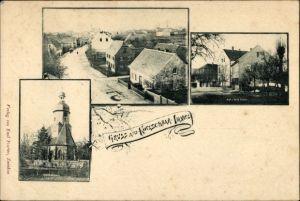 Ak Kotzschbar Imnitz Zwenkau in Sachsen, Teilansichten, Straßenpartie, Alte und neue Schule, Kirche