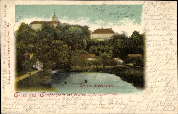 Ak Grabštejn Grafenstein Chotyně Ketten Reg. Reichenberg, Schloss Grafenstein, Zamek 0