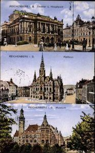 Ak Liberec Reichenberg Stadt, Theater und Hauptpost, Rathaus, Museum