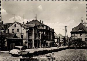 Ak Ebersbach Neugersdorf in Sachsen, Die Bahnhofstraße mit Geschäften