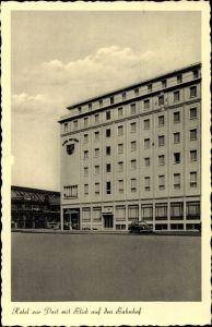 Ak Hansestadt Bremen, Hotel zur Post mit Blick auf den Bahnhof, Fritz Rössler