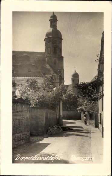 Ak Dippoldiswalde im Osterzgebirge, Blick in die Rosengasse, Turm