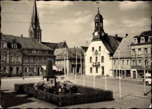 Ak Wilsdruff in Sachsen, Foto Wugk am Markt, Kirche, Denkmal, Rathaus, Schänke Alte Post