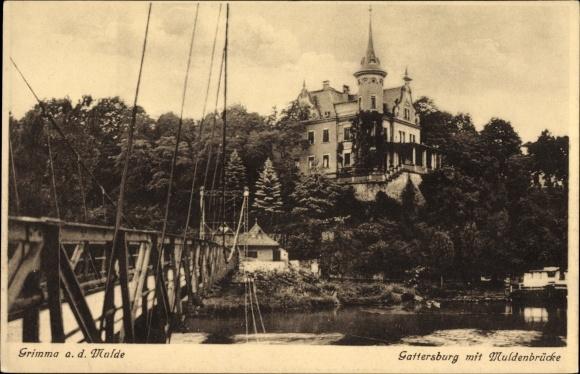 Ak Grimma in Sachsen, Gattersburg mit Muldenbrücke, Flusspartie