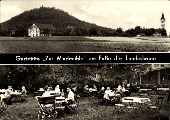 Ak Kunnerwitz Görlitz in der Lausitz, Gaststätte Zur Windmühle am Fuße der Landeskrone