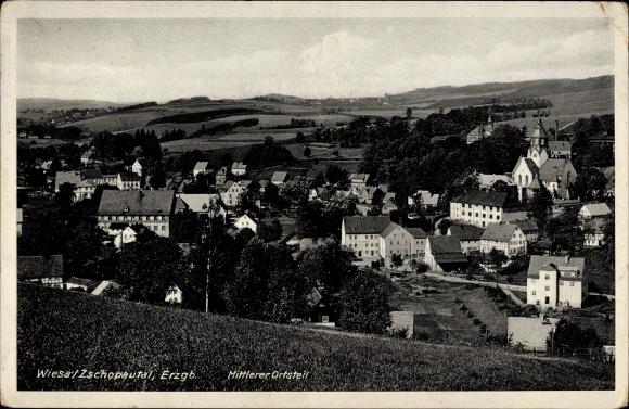 Ak Wiesa Thermalbad Wiesenbad im Erzgebirge, Mittlerer Ortsteil, Kirche