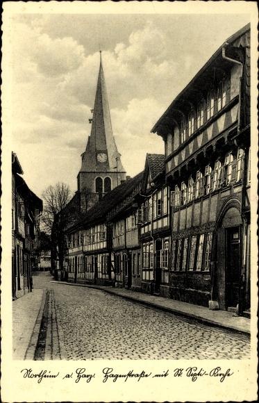 Ak Northeim in Niedersachsen, Hagenstraße mit St. Sixti Kirche