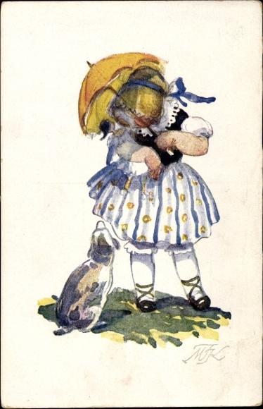 Künstler Ak Fiserova Kvechova, M., Nase deti, Mädchen mit Sonnenschirm, Hund