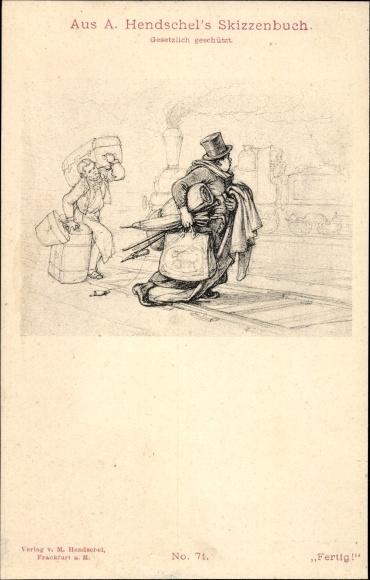 Künstler Ak Hendschel, A., Fertig, Reisender am Bahnhof, Koffer, Skizzenbuch Nr 71