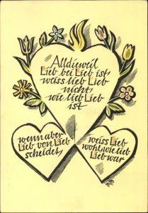Künstler Ak Gampp, J., Herz, Alldieweil Lieb bei Lieb ist weiß lieb Lieb nicht wie lieb Lieb ist