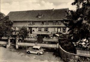 Ak Trautenstein Oberharz am Brocken, Konsum Gaststätte Bergeshöh, Terrasse, Auto