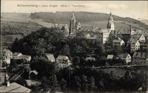 Ak Schwarzenberg im Erzgebirge Sachsen, Blick vom Todenstein auf die Stadt