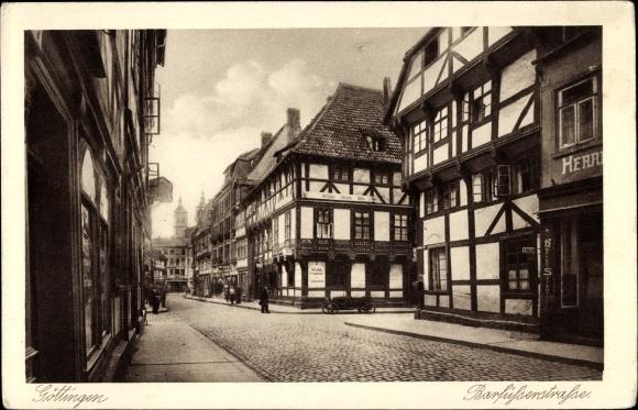 Ak Göttingen in Niedersachsen, Blick zur Barfüßerstraße, Geschäfte, Fachwerkhäuser