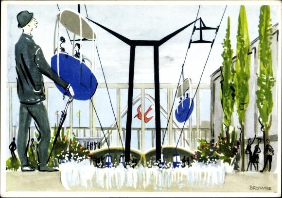Künstler Ak Browne, Seilbahn auf der Weltausstellung 1958 in Brüssel, Exposition Universelle