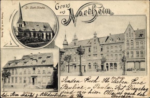 Ak Northeim in Niedersachsen, St. Sixti Kirche, Rathaus, Partie am Markt