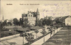 Ak Northeim in Niedersachsen, Partie an der Bahnhofstraße, Darmhandlung E. Bacharach