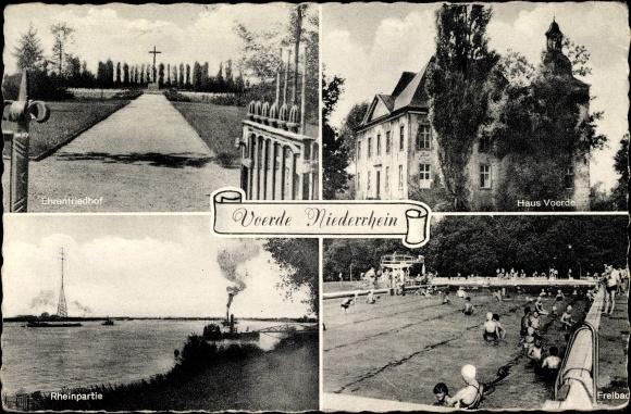 Ak Voerde am Niederrhein, Ehrenfriedhof, Rheinpartie, Freibad, Haus Voerde