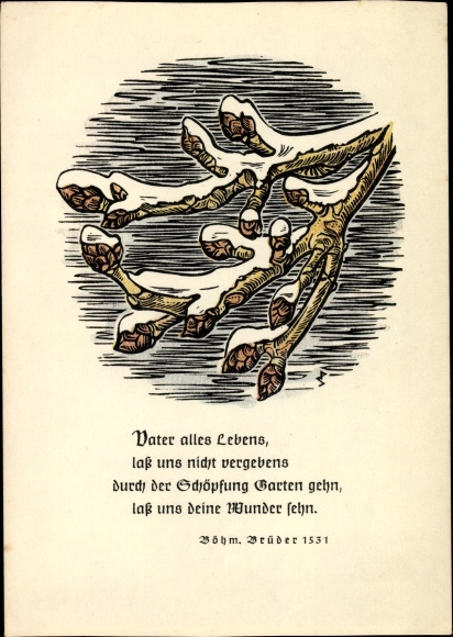 Künstler Ak Sinkwitz Paul Holzschnitt Soli Deo Gloria Gedicht Böhm Brüder 1531