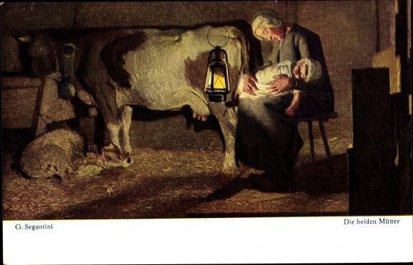 Künstler Ak Segantini, Giovanni, Die beiden Mütter
