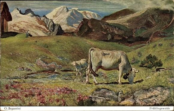 Künstler Ak Segantini, Giovanni, Frühlingsweide, Kühe