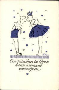 Künstler Ak Pernitsch, Leo, Ein Küsschen in Ehren kann niemand verwehren, Junge und Mädchen