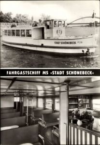 Ak Fahrgastschiff MS Stadt Schönebeck, MVB. Abt. Weiße Flotte und Fähren Magdeburg