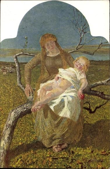 Künstler Ak Segantini, Giovanni, Mutterglück, Mutter mit Kind
