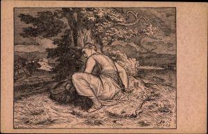 Künstler Ak Manes, Josef, Zrozeni Zizkovo, Frau mit Säugling im Sturm, Baum