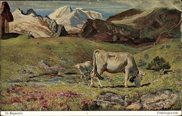 Künstler Ak Segantini, Giovanni, Frühlingsweide, Kühe auf der Alm, Gebirge