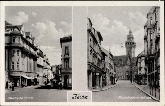 Ak Zeitz an der Weißen Elster im Burgenlandkreis, Wendische Straße, Fischstraße mit Rathaus